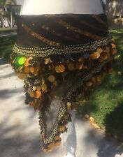 Beautiful Black and Gold Belly Dancing Hip Scarf with Gold Coins