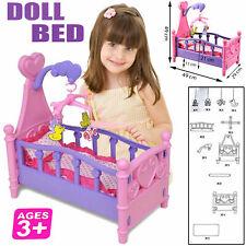 New Girls Baby Doll & Rocking Cradle Cot Bed Set Children Kids Pretend Play Sets
