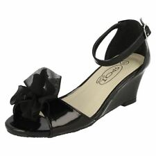 Scarpe sandali neri in pelle per bambine dai 2 ai 16 anni