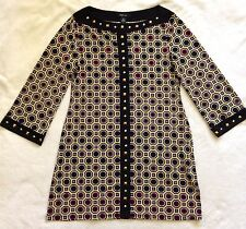 STYLE & CO Womens S Geometric Pattern Tunic Top Career Black Mustard Burgundy