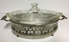 Vintage 1920's PYREX Casserole Dish 033 OR 633B, Engraved Lid 633 OR 642C~ Stand