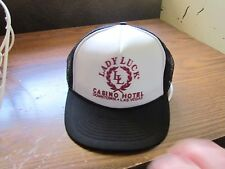 vintage trucker hat LUCKY LADY CASINO HOTEL RENO BLACK MESH SNAP