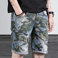 HOT Men's Summer Casual Denim Camo Ripped Hold Shorts Pants Trousers Plus Size
