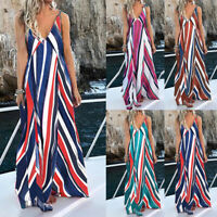 Women Plus Size Strappy Striped Long Maxi Sundress Party Club Beach Cami Dresses
