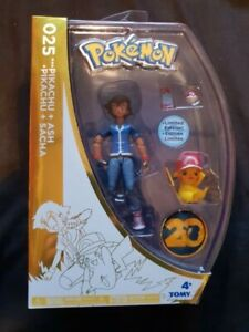 PIKACHU + ASH Pokemon Tomy Figures 2016 4 Inch Limited Edition