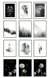 Abstract Framed Prints Set of 3 Black and White Posters Wall Art City Animals