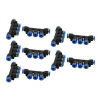 10Pcs 6mm Dia 5 Ways Tube Hose Pneumatic Air Quick Fitting Push In Connector