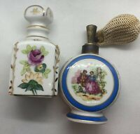 2-Irice Hand Painted Porcelain Perfume Bottle & Atomizer Bottle!