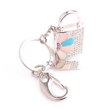 Clé USB cadenas PORTE-CLE  sac mousqueton Swarovski®Elements  8 gb argenté luxe
