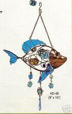 3D stained glass &copper Fish suncatcher  windchime
