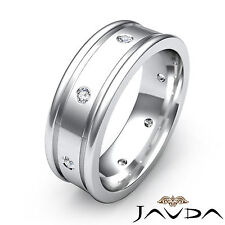 Mens Round Diamond Eternity Wedding Dome Band 14k White Gold Solid Ring 0.15Ct