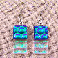 """DICHROIC Glass EARRINGS Emerald Green Clear Rectangle Bubbles Dangle Surgical 1"""""""