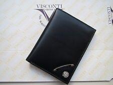 Visconti premium black calf leather mini card+notes+one-pen wallet NN5