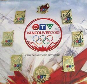 Vancouver 2010 limited 2010 CTV rare Olympic Media 8 pin mounted set PyeongChang