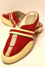 COLE HAAN Womens SZ 9.5 B Suede Leather Slip On Red & Creamules Clogs Shoes