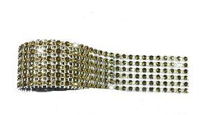 "36"" x 6 Rows Sparkling Gold Diamante Ribbon Cake Crafts Flower Wrap Acrylic"