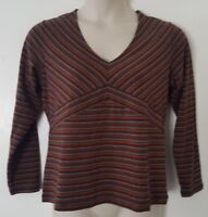 CATO Brown Blue Red Striped Long Sleeve V-Neck Top Blouse Plus Size 14/16 1X