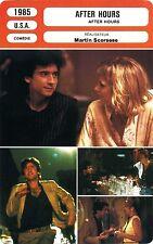 Movie Card. Fiche Cinéma. After Hours (USA) Martin Scorsese 1985 (R)