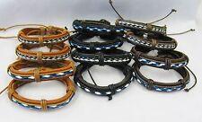 Wholesale Lot 12 PCS UNISEX Leather Adjustable Bracelets Mix Brown Black Tan NEW