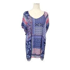 CJ Banks 3X Shirt Red White Blue Patterned Blouse Rayon
