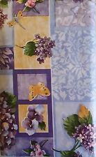 Butterflies Dragonflies Lilacs Flowers Vinyl Flannel Backed Tablecloth 52 x 70