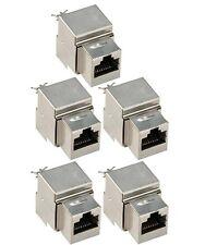 5x Shielded Keystone Jack Cat6 Blue Network Ethernet 110 Punchdown 8P8C RJ45