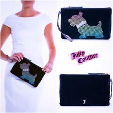 Juicy Couture Designer Scottie Dog Beaded Wrislet Clutch Purse-Black Velour New