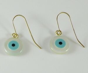 14K Yellow Gold Evil Eye Earrings Mother of Pearl - Good Luck Protection