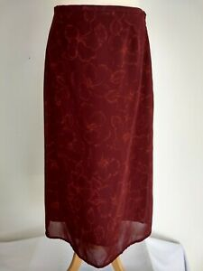 Vintage Laura Ashley A Line Draped Midi Skirt Size 14 Rouge Claret Fully Lined