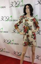 New Orion London Women's Medium Large Ivory Floral Print 3/4 Sleeve Tunic Dress