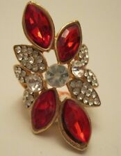 """Ring HUGE Dramatic Ruby Red BIG Flower Rhinestone Cocktail Size 5.5"""" NWT L1349"""