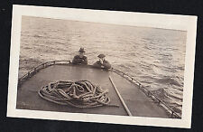 Vintage Antique Photograph Two Men Looking Over Side of Boat in the Ocean