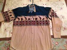 Panhandle Slim Men's Western Shirt - Size L - w/ Pearl Snaps & Eagles - EUC