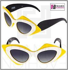 LINDA FARROW Prabal Gurung Cat Eye Mask Black White Yellow PG17 Sunglasses