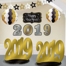 2019 Years Eve Room Decorating Kit 10 PC Black Gold Silver Party Banner Nye