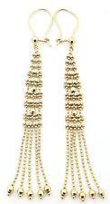 """Custom 14 Karat Yellow Gold Diamond Cut Bead 3.00"""" Drop Dangle Earrings"""