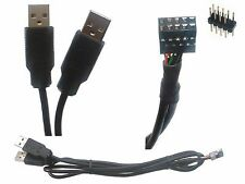 Two USB A plugs to internal 9 pin header cable / adaptor (male or female)
