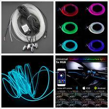 5in1 RGB LED Car Interior EL Neon Strip Light Sound Active Bluetooth App Control