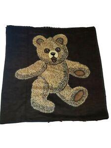 """Vintage Brown Teddy Bear Blanket Safari Weavers West Germany Monsanto 53"""" x 64"""""""