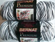 Bernat Premium knitting worsted yarn, Grey Variegated, lot of 2 (258 yds ea)