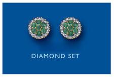 Emerald and Diamond Earrings Yellow Gold Stud Premium Diamonds Hallmarked