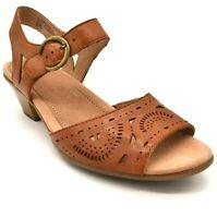Earth Womens Carson Westport Leather Two Piece Heel Sandals Sz 9.5W Alpaca 2 NEW