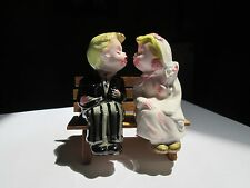 Vintage Bride & Groom Wedding Kissers Bench Sitters Salt & Pepper Shakers Japan