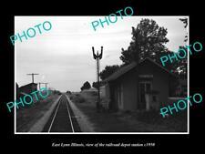 OLD POSTCARD SIZE PHOTO OF EAST LYNN ILLINOIS RAILROAD DEPOT STATION c1950
