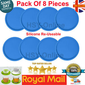 8Pcs Quality Premium Rubber Silicone Hot Drink Coaster Place Cup Mats Mug Coffee