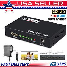 HDMI Splitter Amplifier 1 In 4 Out Duplicator Full HD1080p 3D V1.4 Foxtel DVD AU