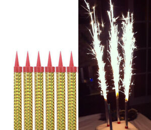 6pcs Happy Birthday Candle Cake Topper Sparkling Candles Bar Wedding Party 5''