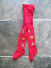 Girl's Red Bears Winter Stockings/Tights Size 1 VGUC