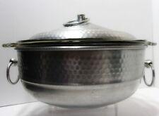VTG 1950's 3-Pc Casserole Pan NASCO & Fire King #13 Hand-Hammered Aluminum Italy