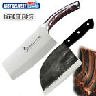 2 Piece Kitchen Cleaver Butcher Knife Set Stainless Steel Pro Sharp Chef Knives